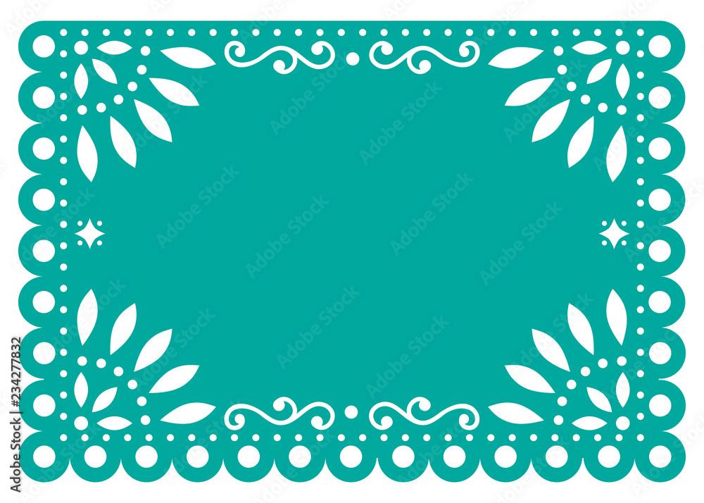 Fotografía Papel Picado Vector Template Design In Turquoise