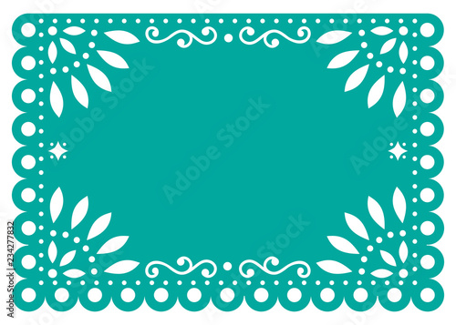 Papel Picado Vector Template Design In Turquoise Mexican Paper