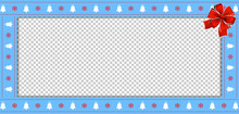 Christmas Or New Year Border With Xmas Bells, Snowflakes Pattern And Red Ribbon