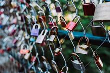 Love Locks Hanging On Fence
