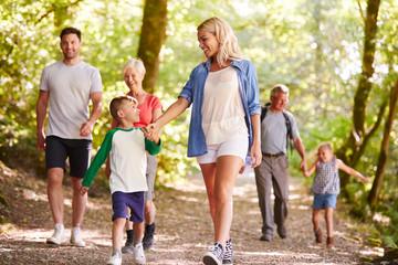 Fototapeta Multi Generation Family Enjoying Walk Along Woodland Path Together
