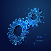 Abstract Image Of Two Gears In The Form Of A Starry Sky Or Space, Consisting Of Points, Lines, And Shapes In The Form Of Planets, Stars And The Universe. Mechanical Gearing Vector Wireframe Concept