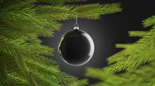 Blank Black Christmas Tree Ball Hanging On Pine Mockup