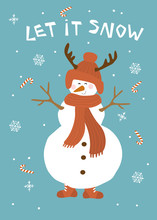 Winter Christmas Let It Snow Greeting Card With Cute Snowman Over Blue Background Vector Illustration