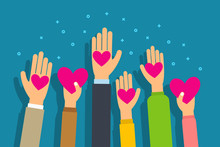 Charity And Donation Concept. People Give Hearts In Palm Hand. Flat Style Vector Illustration.