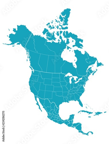 Obraz Map of North America - fototapety do salonu
