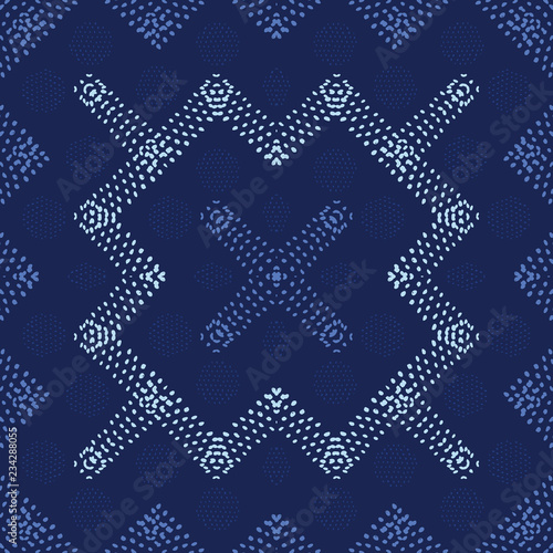 Fotografie, Obraz  Decorative seamless vector pattern with shapes created from hand drawn dots