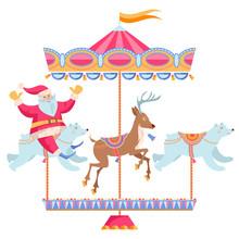 Santa Claus Riding A Christmas Carousel. Vintage Christmas Merry-go-round.