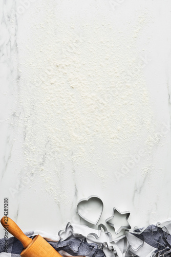 Baking Background For Christmas Cookies With Cutters And Rolling Pin On White Marble Table Flour Top View Copy E Text