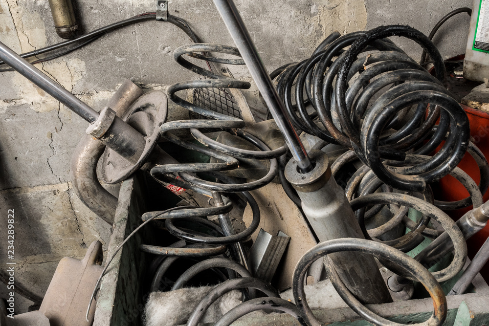 Photo Art Print Metal Waste And Scrap The Old Car Parts Pile Of