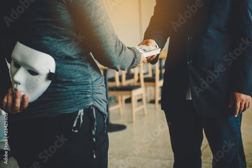 Fotografering Masked, no sincerity of doing business together.