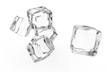 Five Transparent Ice Cubes Isolated On White Background. 3D Rendering