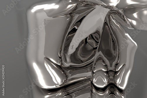 Fototapeta  Abstract rippled dark metallic reflection background