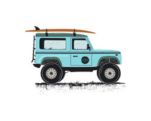 Vintage Hand Drawn Surf Car. Retro Transportation With Surfboard. Old Style Sufing Automobile. Perfect For T-Shirt, Travel Mugs And Otjer Outdoor Adventure Apparel, Clothing Prints. Stock