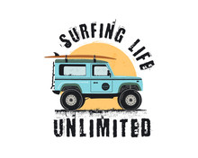 Vintage Surf Emblem With Retro Woodie Car. Surfing Life Unlimited Typography. Included Surfboards, Road And Sun Symbols. Good For T-Shirt, Mugs. Stock Isolated On White Background