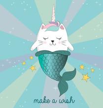 Fun Magic Cat Unicorn And Mermaid. Vector Cartoon Charters. Editable Vector Illustration.