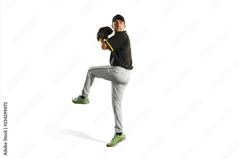 Fototapety, obrazy: The fit caucasian man baseball player playing in studio. silhouette isolated on white background
