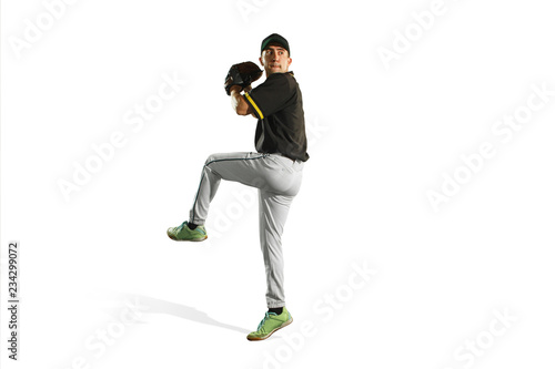 Fototapeta The fit caucasian man baseball player playing in studio. silhouette isolated on white background obraz
