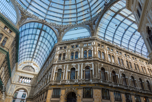 Umberto I gallery in Naples, Italy on a Sunny day.