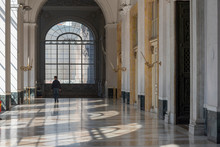 Royal Palace Of Naples, Italy, October 2018. Beautiful White Interior Of Large Corridors.