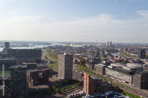 view from above on cityscape of Rotterdam