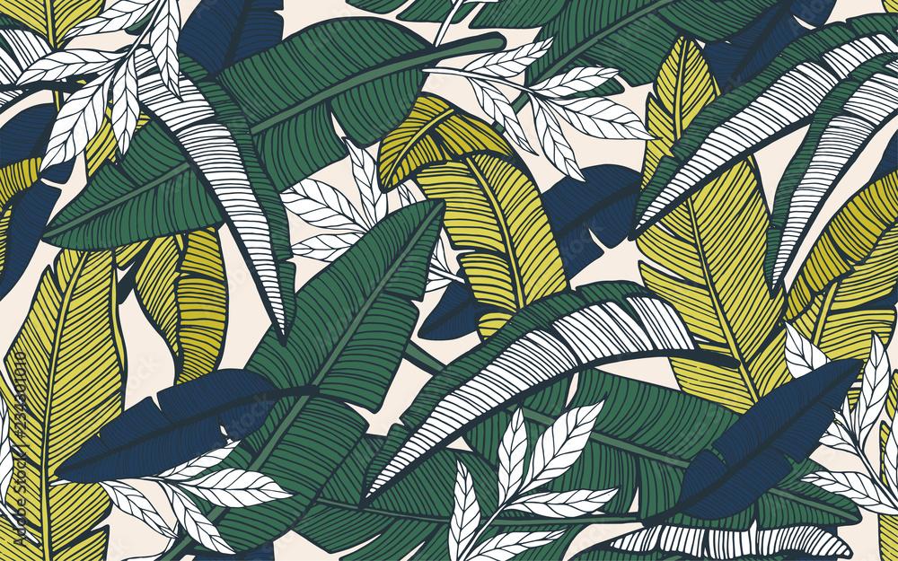 Fototapeta Seamless tropical pattern with banana leaves. Hand drawn