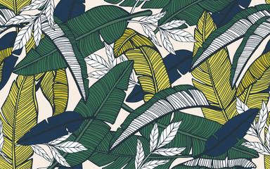 Bešavni tropski uzorak s lišćem banane. Ruka nacrtana
