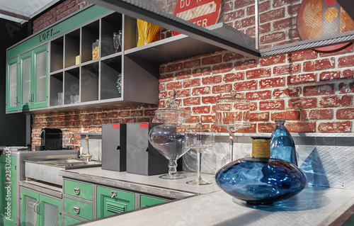 Loft Style In Kitchen Design Green Furniture Gray Tabletop And Red Brick Wall Buy This Stock Photo And Explore Similar Images At Adobe Stock Adobe Stock