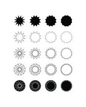 Set Of Fifteen Different Styles Of Twelve Point Star (Dodecagram) And Dodecagon.