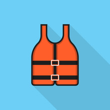 Life Jacket Icon With Long Shadow On Blue Background, Flat Design Style