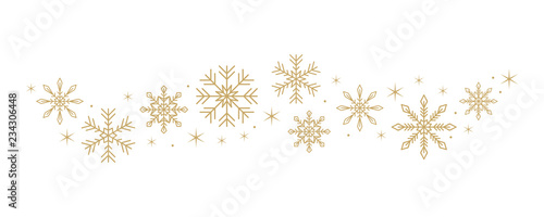 Obraz snowflakes and stars border isolated on white background vector illustration EPS10 - fototapety do salonu