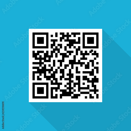 Fotografie, Obraz  Sample qr code icon with long shadow on blue background, flat design style