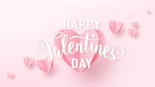 Valentines Day Background With Light Pink Paper Hearts And White Text Sign. Love Heart Graphic Design For Greeting Cards, Banner, Flyer. Vector Illustration