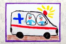 Colorful Hand Drawing: Ambulan...