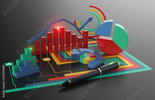 Fototapeta Business Finance Marketing and Budget Report obraz