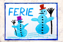 Colorful Drawing Of The Page: Two Smiling Snowmans And The Polish Word WINTER VACATION
