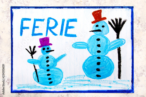Fototapeta Colorful drawing of the page: Two smiling snowmans and the Polish word WINTER VACATION obraz