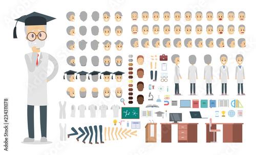 Stampa su Tela Professor character in uniform set for animation.