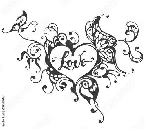Photo sur Toile Papillons dans Grunge Love hand drawn lettering text in heart frame with butterfly