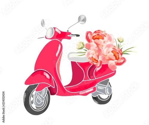 Fotografija Cute scooter with flowers.
