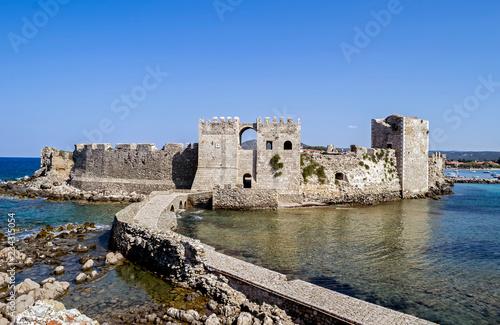 Plakat zamek Methoni Messenia Peloponnese Grecja - średniowieczne fortyfikacje weneckie