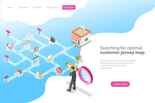 Isometric Flat Vector Landing Page Template For Serching For Optimal Customer Journey, Digital Marketing Campaign, Promotion, Advertisment.