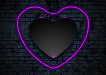 Neon Purple Heart On Dark Brick Wall Background