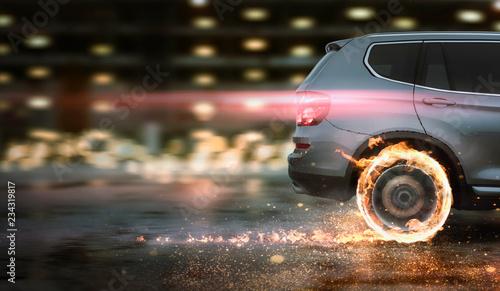 Foto op Plexiglas Motorsport schnelles Auto mit brennenden Reifen