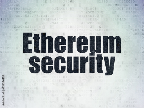 Fotografie, Obraz  Cryptocurrency concept: Painted black word Ethereum Security on Digital Data Pap