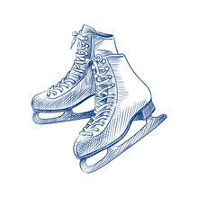 Hand Drawn Skates Sketch Symbol Isolated On White Background. Vector Of Winter Elements In Trendy Style
