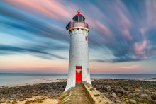 Red White Lighthouse Sunset