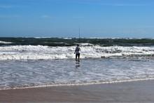 Lone Surf Fisherman At The Ocean Beach St. Augustine, Florida