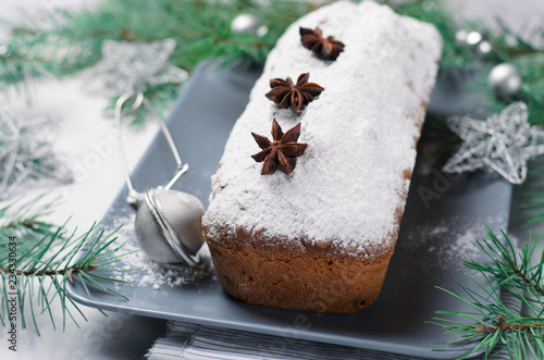 Fotografie, Obraz  Loaf Cake Dusted with Icing Sugar, Christmas and Winter Holidays Treat