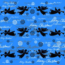 Angels. Christmas Festive Seamless Pattern For Packaging, Wrappers, Holidays, Fabrics And Light Industry. Vector Image.
